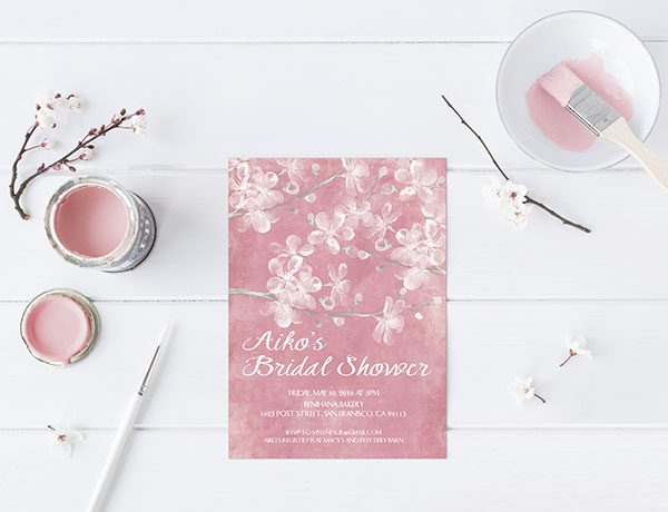 Pink Cherry Blossom Bridal Shower Invitations