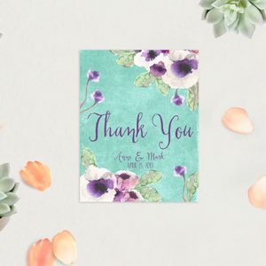 Aqua Watercolor Anemone Thank You Cards