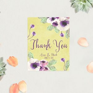 Chartreuse Watercolor Anemone Thank You Cards