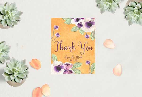 Orange Watercolor Anemone Thank You Cards