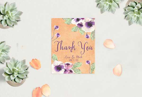 Peach Watercolor Anemone Thank You Cards