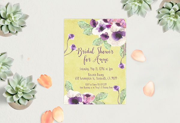 Chartreuse Watercolor Anemone Bridal Shower Invitations