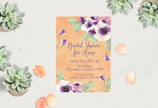 Peach Watercolor anemone Bridal Shower Invitations