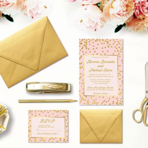 Blush and Gold Confetti Wedding Invitations and rsvp cards