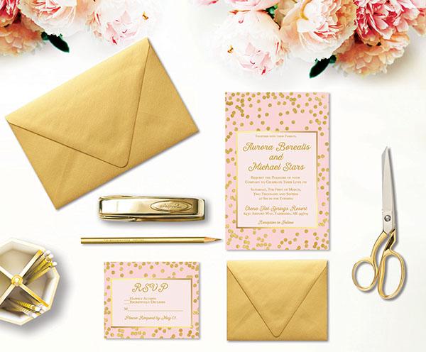 Blush and Gold Confetti Wedding Invitations