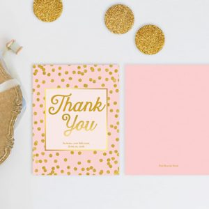 Blush & Gold Confetti Dots Thank You Cards