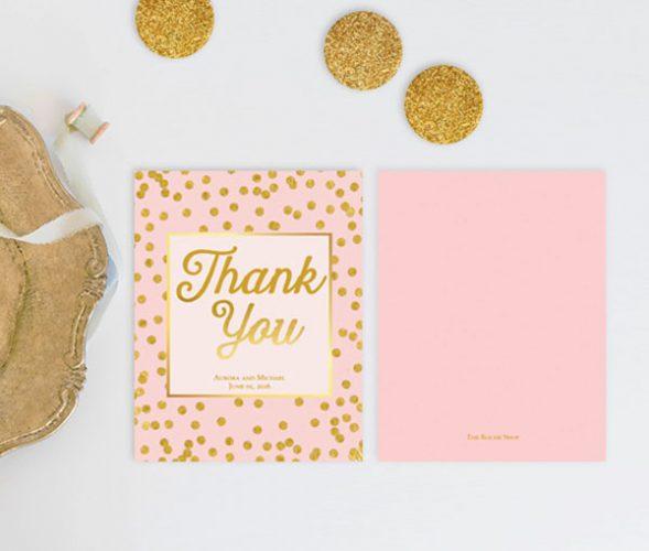 Blush & Gold Confetti Dots Thank You Cards