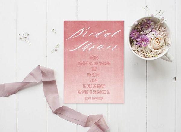 Coral Pink Watercolor Bridal Shower Invitations