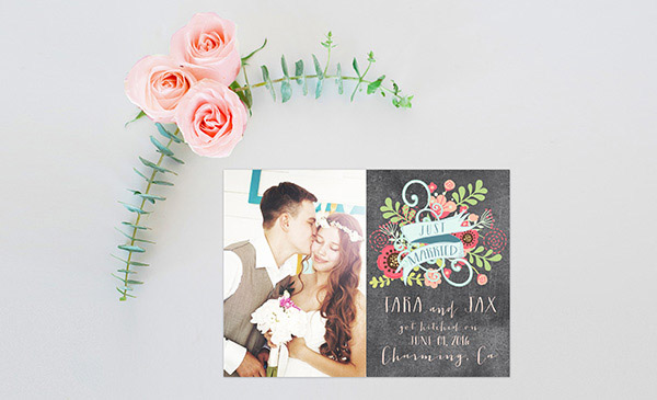 Chalkboard Chic Floral Wedding Announcements