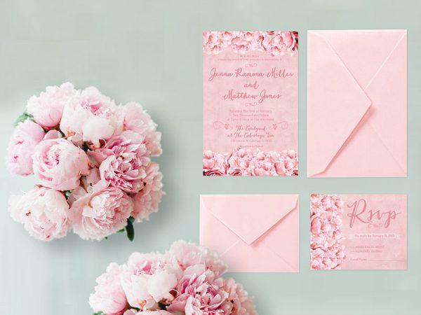 Shabby chic pink peonies wedding invitations