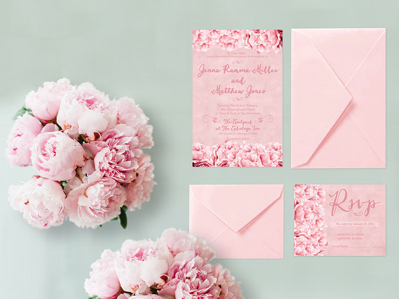 Shabby chic pink peonies wedding invitations - THE JESSIE | the ...
