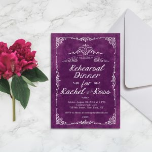Passion Purple Rehearsal Dinner Invitations