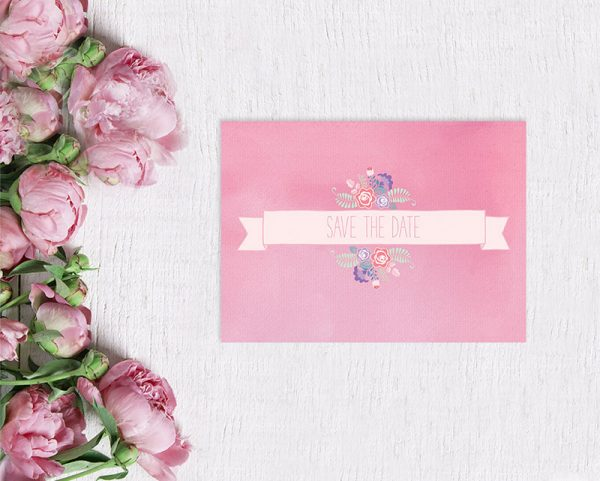 pastel pink floral banner save the date card