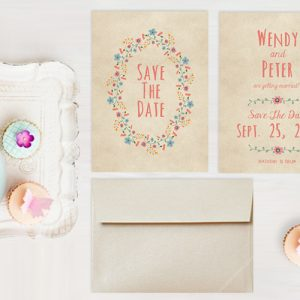 THE WENDY BOHO CHIC or BOHEMIAN SAVE THE DATE CARDS
