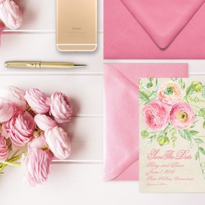 Coral pink ranunculus save the date cards