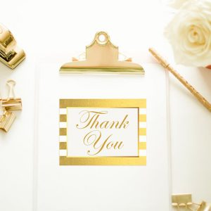 Gold Stripes Thank You Cards