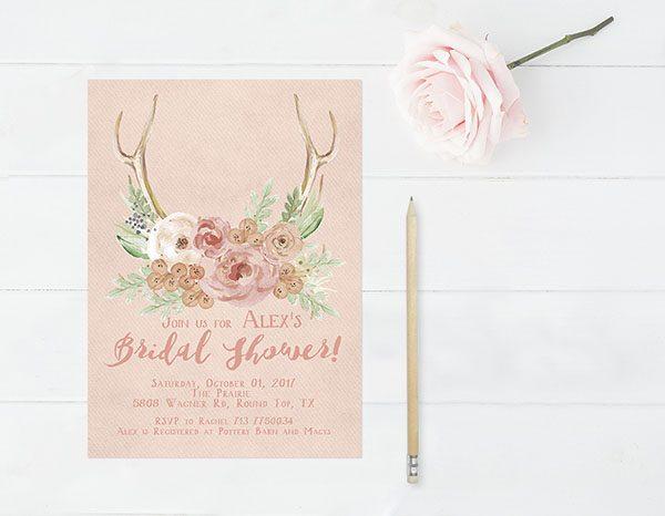 Peach Rustic Chic Bridal Shower Invitations