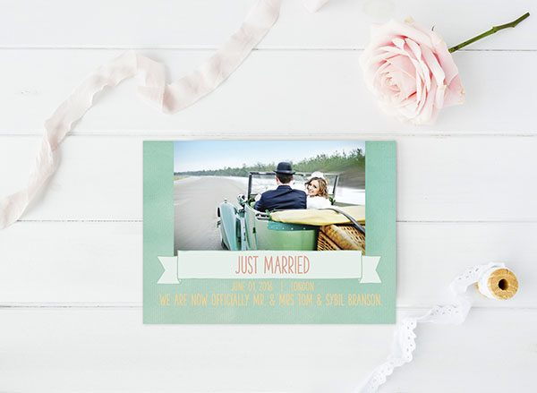 Mint Watercolor Wedding Announcements