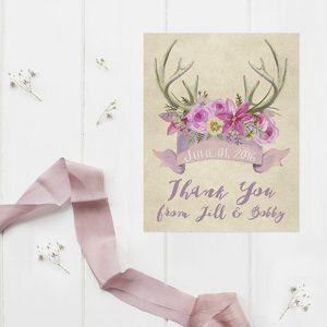Rustic Chic Antler Mauve Thank You Cards