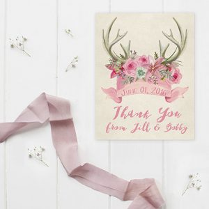 Rustic Chic Antler Pink Thank You Cards