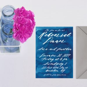 The Sara - Indigo Blue Watercolor Rehearsal Dinner Invitations