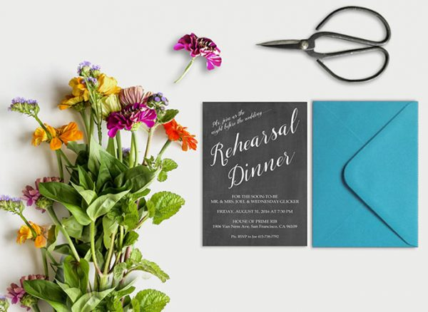 The Wednesday - Calligraphy Chalkboard Rehearsal Dinner Invitations