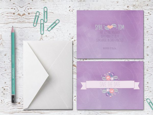 THE SYBIL - LAVENDER SAVE THE DATE CARDS