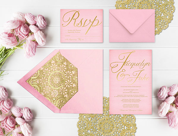 Pink and gold wedding invitations with gold doily liners the pink and gold wedding invitations with gold doily liners junglespirit Image collections