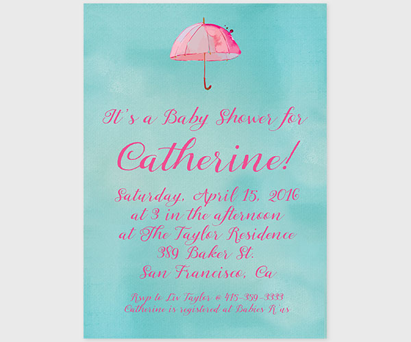 Turquoise & pink watercolor umbrella baby shower invitations