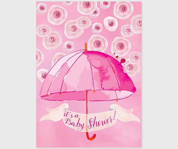 THE CATHERINE - Pink watercolor umbrella baby shower invitations