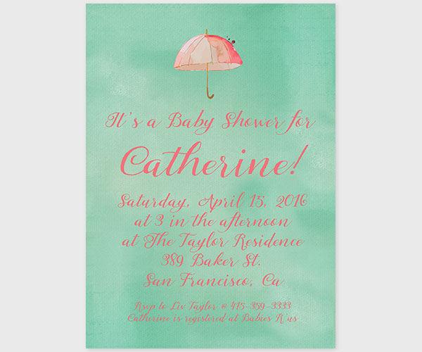 mint and peach baby shower invitations