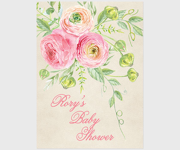 THE RORY- Coral pink ranunculus baby shower invitations