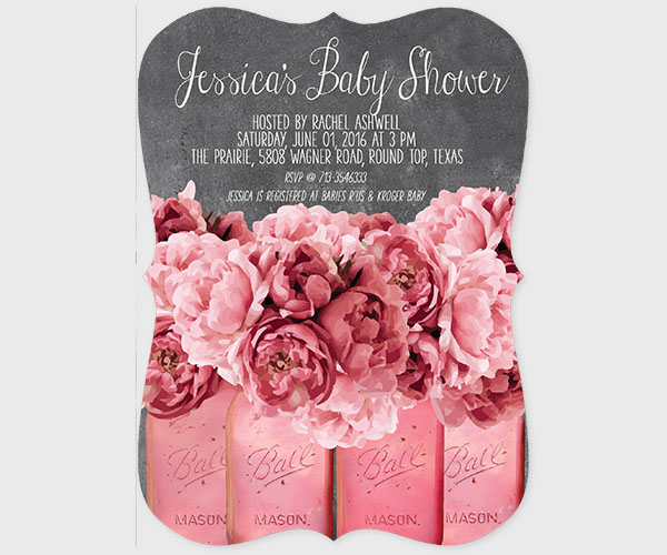 THE JESSICA- Shabby chic coral pink peonies baby shower invitations
