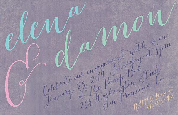 Pastel Calligraphy Engagement Party Invitations