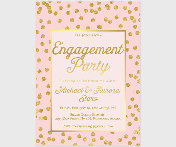 The Aurora - Blush & Gold Confetti Engagement Party Invitations
