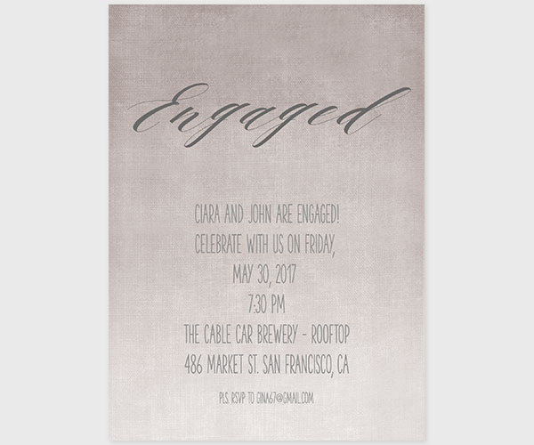 Grey Watercolor Engagement Party Invitations