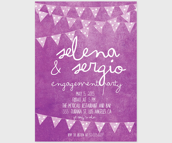 The Selena - Purple Bunting & Polka Dots Engagement Party Invitations