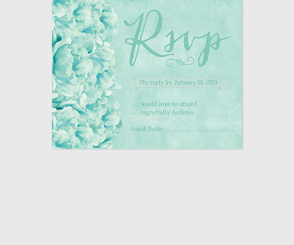 THE JESSIE - Shabby chic mint peonies rsvp cards