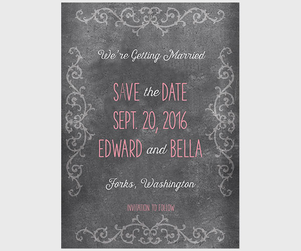 THE BELLA - Chalkboard scroll coral pink save the date cards