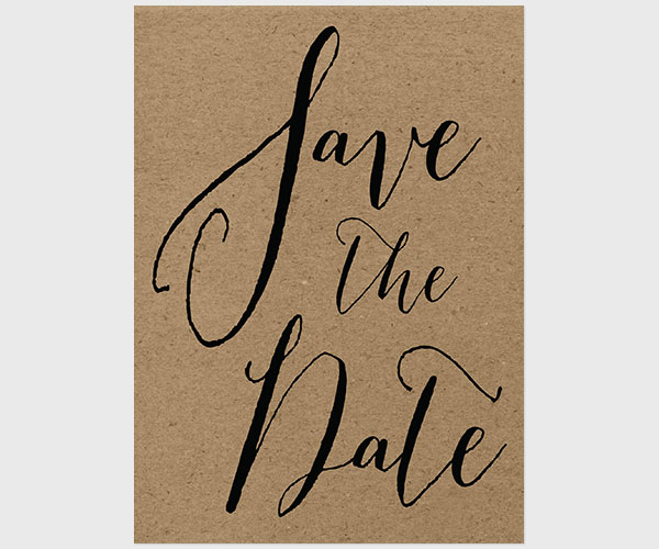 THE ELLEN - Calligraphy on kraft save the date cards