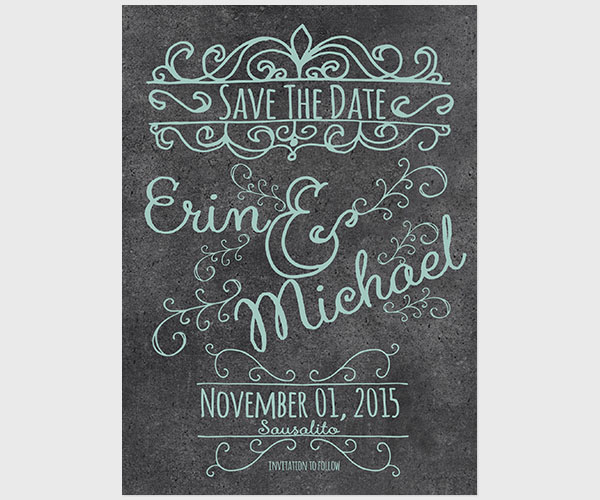 THE ERIN - Robin Egg Blue Chalkboard Save the Date Cards