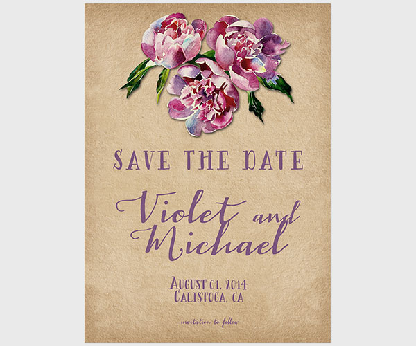 THE VIOLET- Wine country wedding plum save the date cards