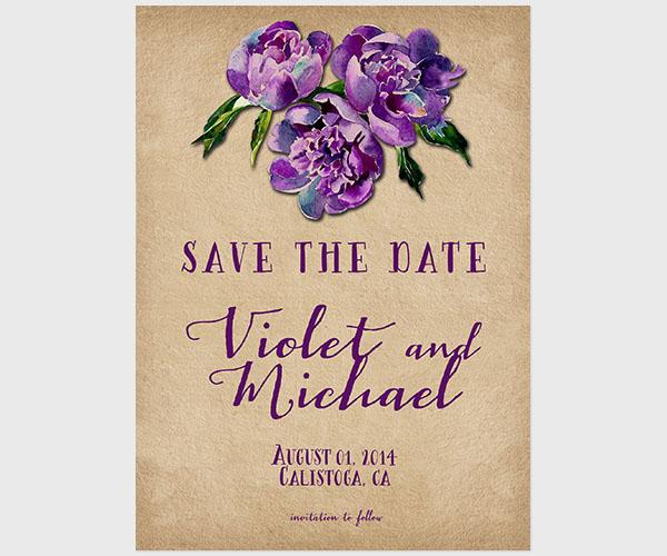 THE VIOLET- Violet vineyard weddings save the date cards