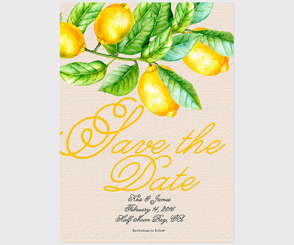 The Kris - Yellow Lemons Save The Date Cards