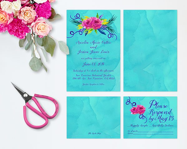 Love Wins Colorful Turquoise Wedding Invitations