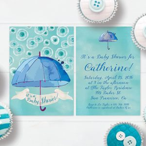 Blue & green watercolor umbrella baby shower invitations