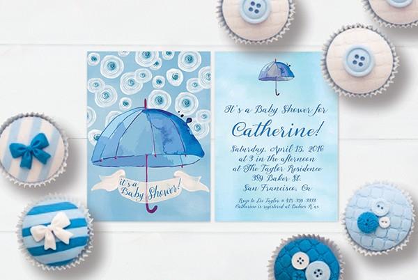 Blue & white watercolor umbrella baby shower invitations