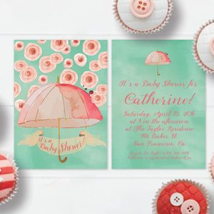 Mint & peach watercolor umbrella baby shower invitations