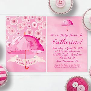 Pink watercolor umbrella baby shower invitations