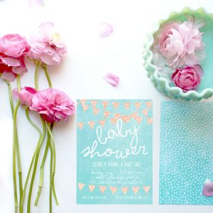 Mint & coral bunting baby shower invitations